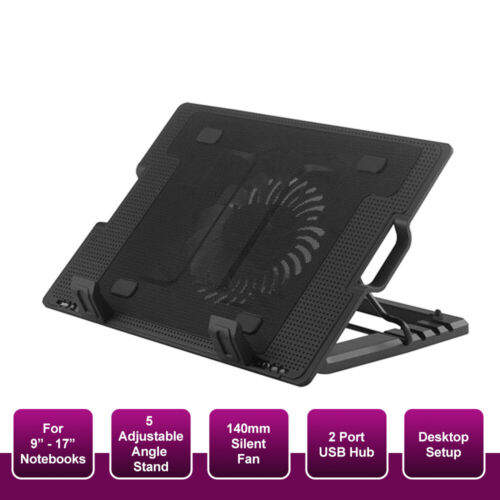 """Laptop Notebook Cooler Cooling Stand USB Big Fan Pad Ergonomic Up to 17"""" inch"""
