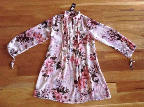 NWT Pretty Floral Sheer Shirt Dress Loose Fit YUKA Sz S AU 10