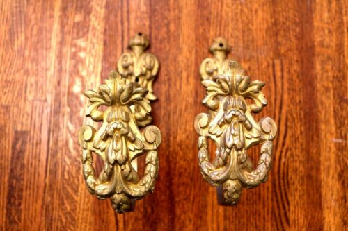 Coat Hooks - Acanthus Leaf and Garland - Brass - Reclaimed - Antique