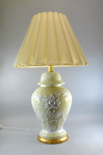 Vintage Oversized Ceramic Lamp in Pale Gold with Raised Floral Design in White