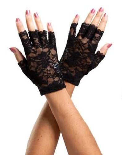 80s Retro Fingerless Lace Gloves USA Seller Prom Wedding Bridal Party Punk Rock