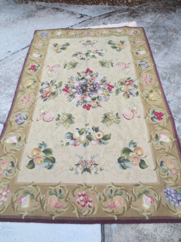"""5'4"""" X 8'4"""" Wool Rug Fruits Flowers Pottery Barn Style"""