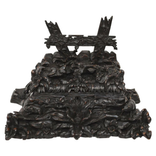 Exquisite Fine Carved Antique Black Forest Jewelry Box Dog & Rabbit