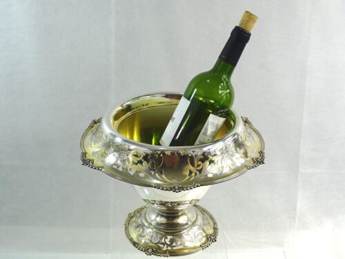 MAGNIFICENT ANTIQUE AMERICAN STERLING SILVER WINE COOLER REED & BARTON BARWARE