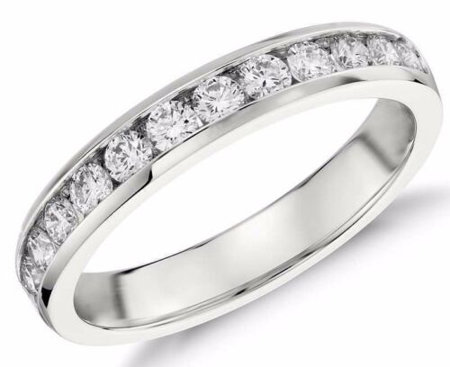 Diamond Wedding Ring band 0.60 Carat Round Cut 14k White Gold in Channel Setting