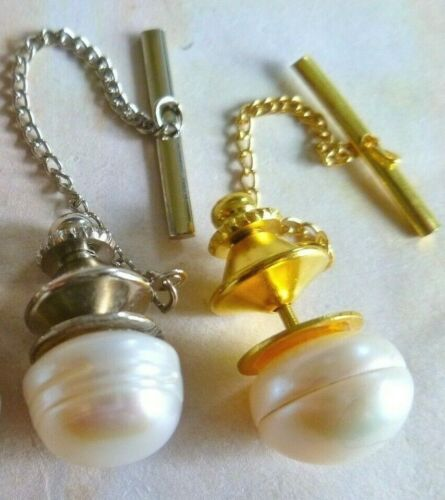MEN'S TIE PIN / TAC WHITE 11mm Freshwater Pearl GOLD PLT OR SILVER PLT & Chain
