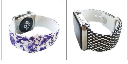Pattern Silicone Wrist Bracelet Sport Band Strap For Apple Watch 42mm/38mm USA