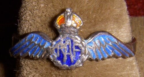 WWII RAF (Royal Air Force) Wing Ring in Enameled Silver, Possibly SweetheartOther British WWII Orig. Items - 4074