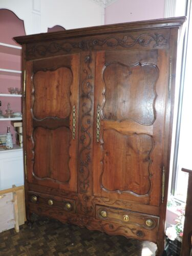 SALE Gorgeous Antique Mid 1800's French Relief Carved Oak Armoire
