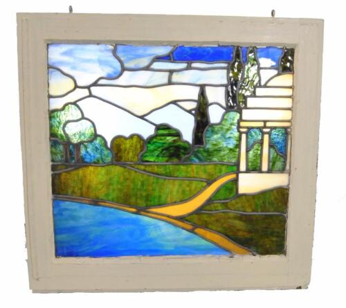 Antique Framed Stained Glass Window Landscape Scene With Gazebo