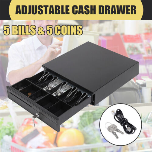 Manual/Electronic Heavy Duty Cash Drawer Cash Register POS 5 Bills 5 Coins Tray