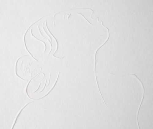 Untitled Embossed Paper Print (Woman Looking Up) by R.C. Gorman Signed #d Dated