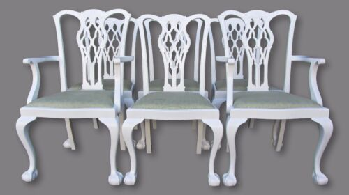 Refurbished White Lacquer Antique Chippendale Dining Chairs-Set of 6