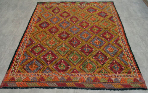 "Vintage Turkish Kilim Rug Hand Woven Wool Braided Area Rug 65"" x 76"""
