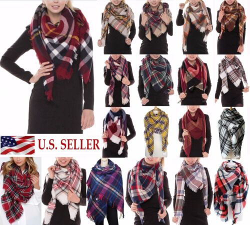 Womens Oversized Tartan Plaid Blanket Scarf Large Checked Wrap Shawl Winter Warm