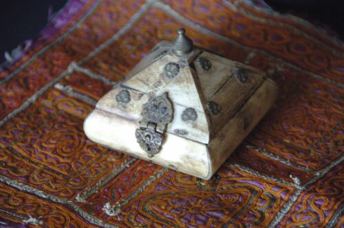 Old Middle Eastern Camel Bone & Brass Box with Handmade Mat...