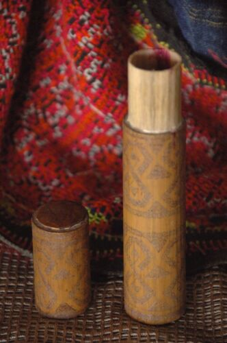 Old Timor Carved Bamboo Beetle Nut Holder (b) …beautiful detailed carving