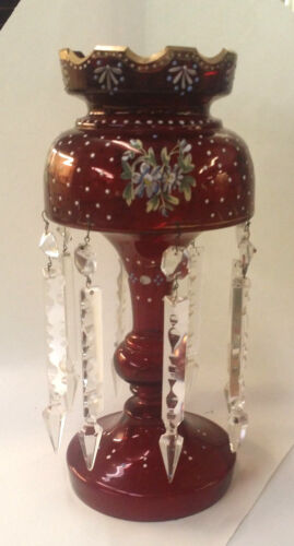 "ANTIQUE HANDPAINTED RUBY LUSTRE 8 ARROW CRYSTAL 13.5"" HIGH GOOD CONDITION LUSTER"