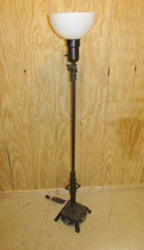 Vintage Art Deco Floor Lamp with Sculpture Base Torchere
