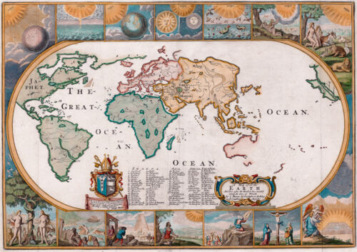 Antique World Map, Old Vintage Map, 1681, Fade Resistant HD Art Print or Canvas