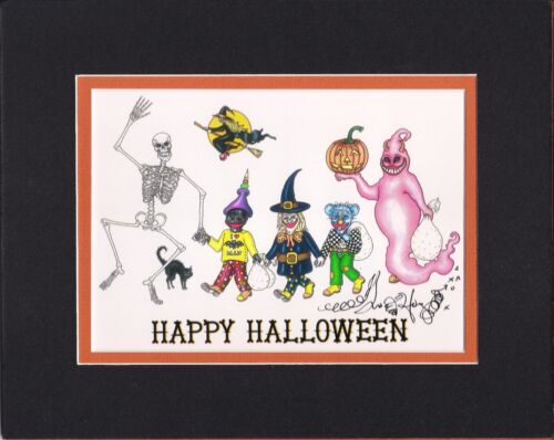 HAPPY HALLOWEEN Jamie Hayes MATTED TO AN 8X10, SIGNED GICLEE, GHOST, SKELETON