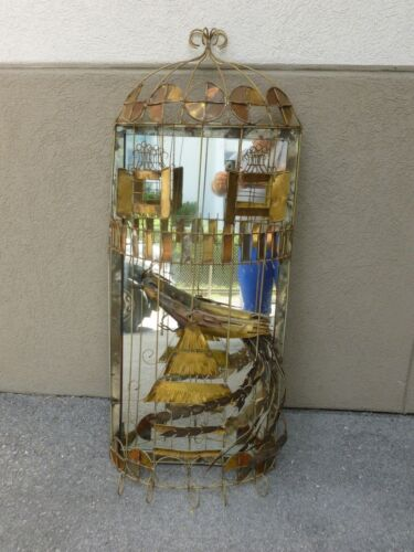 LARGE 1970'S WILD AND FUNKY CURTIS JERE BIRD CAGE MIRROR