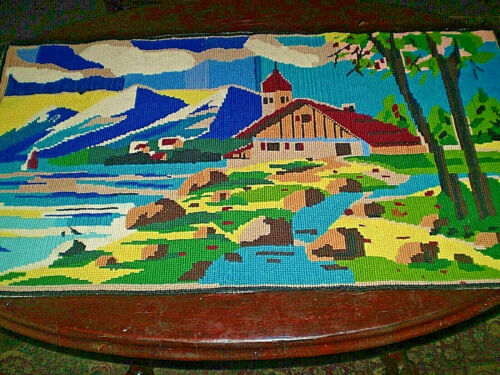 Beautiful Vintage Hand-Embroidered Woolen Multi-Color Tapestry