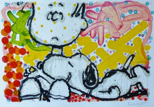 "TOM EVERHART "" SUPER SNEAKY ""  Snoopy Linus PEANUTS  Hand signed Lithograph 2006"