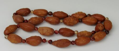 22 Chinese Lohan Nut Hediao Immortal Carving Prayer Necklace - Carnelian/Glass