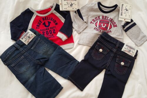 Boy's True Religion outfit Jeans Set size 3 6 9 12 18 24 months Long sleeve top