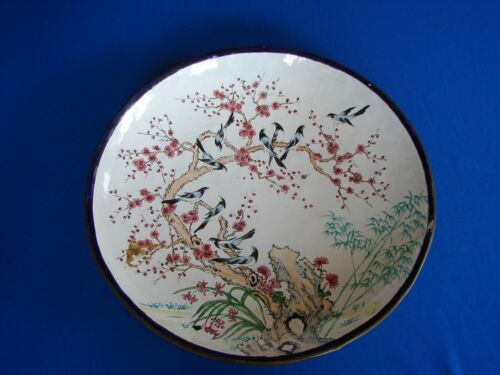"""ANTIQUE 14"""" CHINESE CANTON ENAMEL ON COPPER CLOISSONE CHARGER PLATE"""