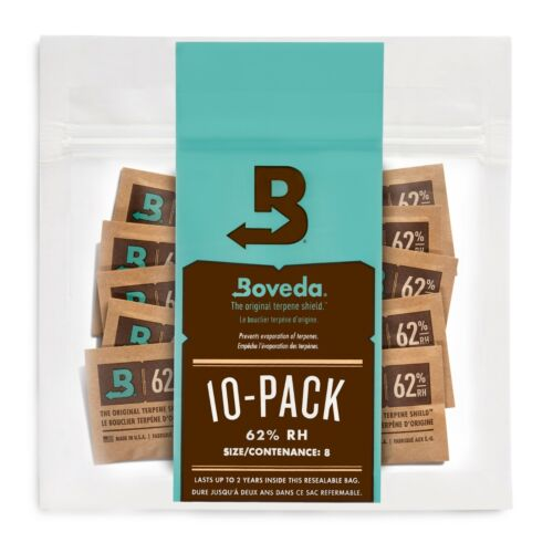 Boveda 62% RH 2-Way Humidity Control | Size 8 Protects Up to 1 Oz | 10-Count