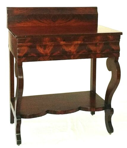 "Nightstand, small server, Empire, mahogany, ogee drawer, 28""w, c1840"