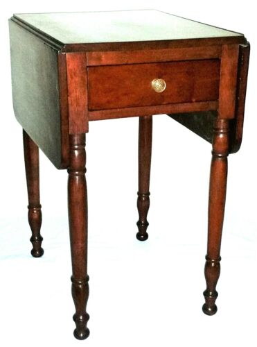 "Nightstand, end table, Sheraton, solid cherry, drawer, dropleaf, 29""t, c1820"