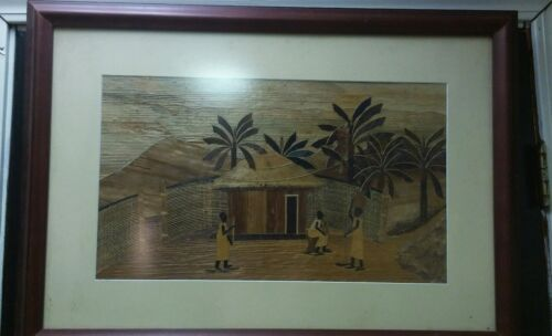 Vintage Inlaid Wood Marquetry Picture of tribes and village 19x27