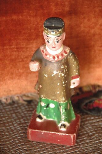 Old Chinese Hand Carved & Painted Wooden Figurine …beautiful collector's piece 5