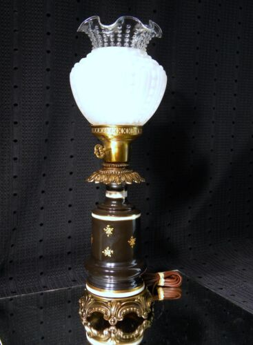 Gorgeous Vintage Black & Gold Porcelain Grecian Gods Table Lamp with Shade