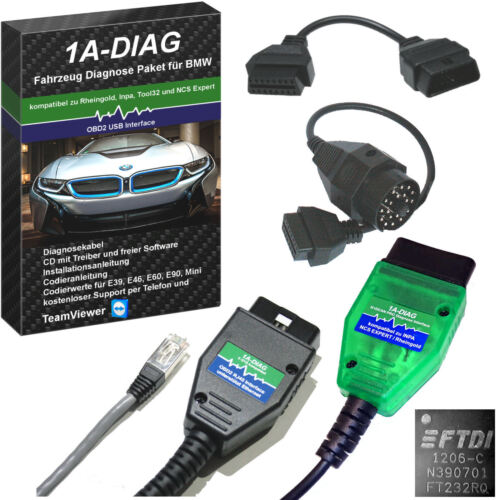 1A-DIAG Diagnose Set für BMW Mini 1996 - 2019 komp. zu INPA NCSEXPERT Rheingold  <br/> inkl. Software, ab 1996-2019, online Support TeamViewer