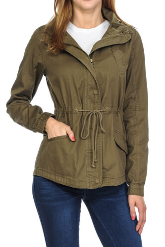 Women's Premium Vintage Wash Lightweight Military Fashion Twill Hoodie Jacket