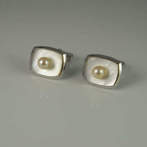 1960s Retro Mother of Pearl MOP White Pearl Silver Cufflinks Wedding Cuff Links