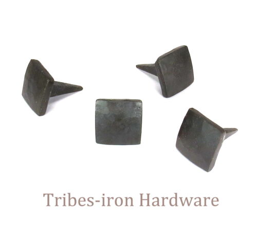 20 Square Head Nails Hand Forged Iron Big Rustic Metal Clavos Door Decor Studs