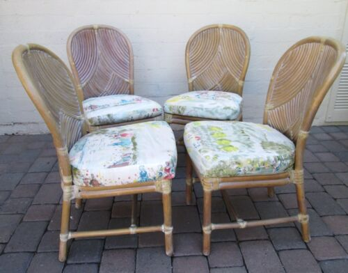 Vintage Matching Set of Four Bamboo Cane McGuire Dining Chairs