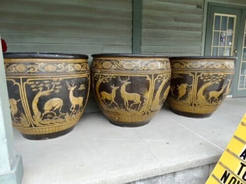 Monumental  Large Terracotta Glazed Pottery Urns Planters