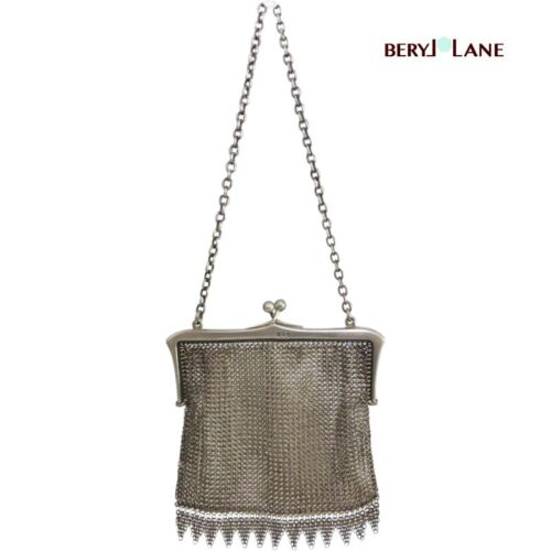 Antique c1916 English STERLING SILVER Mesh Fringe PURSE, London Hallmarks