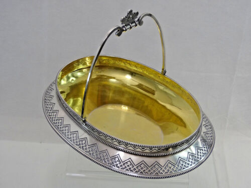 SUPERB ANTIQUE IMPERIAL RUSSIAN 84 SILVER BASKET ST PETERSBURG 1881  Very Large