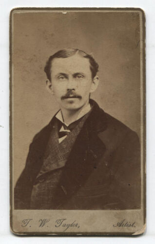 CDV MAN WITH MUSTACHE AND SLICKED HAIR. WEST CHESTER, PA.
