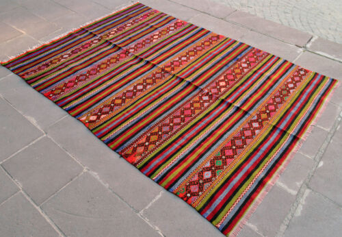"65"" x 90"" Turkish Rug Hand-Woven Wool Vintage Braided Kilim Boho Chic"
