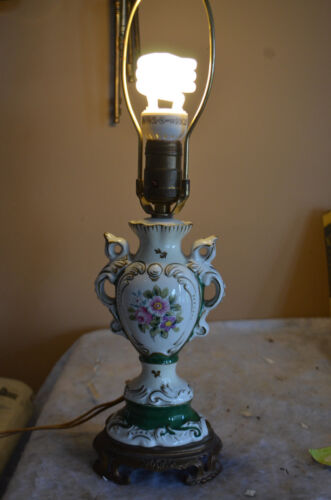 """Antique Colonial Style Floral Porcelain Table Lamp w/Cloth Cord-30's-40""""s?"""
