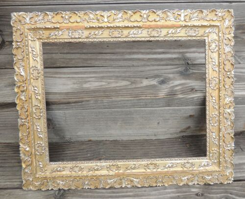 "Antique Wood Gesso Gilt Picture Frame Ornate Fits 12"" by 16"" As Is"