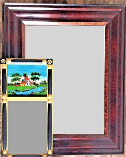 "Frame for painting, mirror, birdseye, flame, rswd, ebonized, 46""t, Empire, c1840"